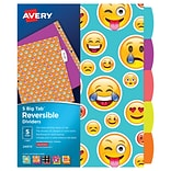 Avery Big Tab Reversible Dividers; 5-Tab, 1 Set, Emoji Design (24974)