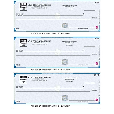 High Security Laser 3-Up Checks; Lined, Blue