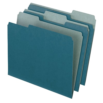 Pendaflex® Earthwise® Recycled Color File Folders, 3 Tab Positions, Letter Size, Blue, 100/Bx (4302)
