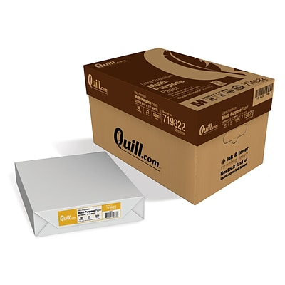 Quill Brand® 8-1/2 x 11 Ultra White Multipurpose Paper, 22 lbs., 98 Brightness, 10 Reams/CT (719822CT)