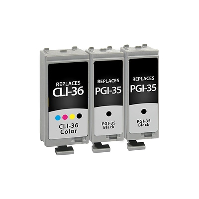 Quill Brand® Remanufactured Canon PGI-35 Black and CLI-36 Color Ink Cartridges (1509B007), Combo 3/Pack