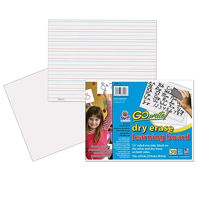 GoWrite! Dry Erase Learning Boards, 11 Width x 8.25 Height, White, Frame, Film, 30/Pack