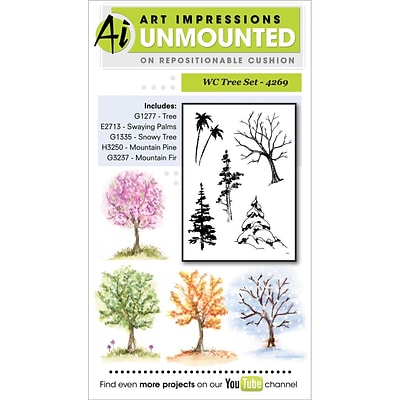 Art Impressions Watercolor Cling Rubber Stamps 4X7-Tree Set
