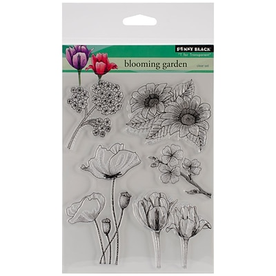 Penny Black Clear Stamps 5X7-Blooming Garden