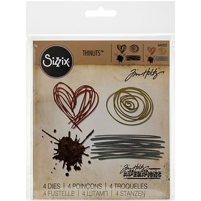 Sizzix Thinlits Dies 4/Pkg By Tim Holtz-Scribbles & Splat