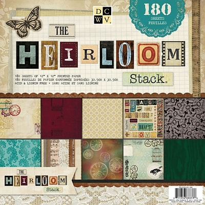 DCWV Paper Stack 12X12 180/Sheets-Heirloom, 60 Designs/3 Each