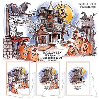 Art Impressions Tryfolds Cling Rubber Stamps 10X4.5-Haunted House
