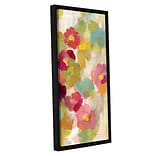 Ebern Designs Coral and Emerald Garden I Panel III Framed Painting Print; 24 H x 8 W x 2 D
