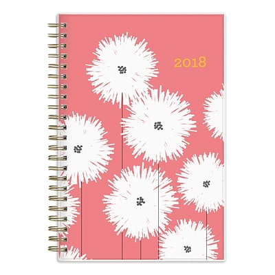 2018 Snow & Graham for Blue Sky 5 x 8 Weekly/Monthly Frosted Planner, Pom Poms (103539)