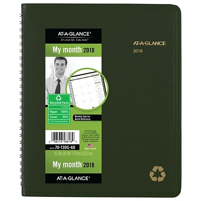 "2018 AT-A-GLANCE® Recycled Monthly Planner, 6 7/8"" x 8 3/4"", Wirebound, Green (70-120G-60-18)"