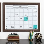 Union Rustic Framed Monthly Calendar Magnetic Dry Erase Board; Walnut Brown