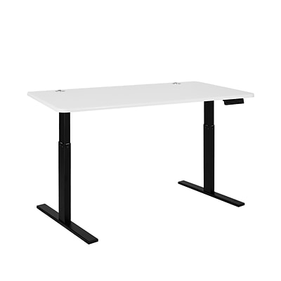 Autonomous SmartDesk - Height-Adjustable Standing Desk - Single Motor - Black Frame - White Classic Top