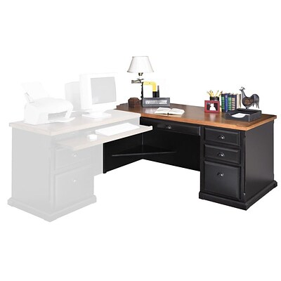 Martin Furniture Southhampton Cottage Collection; Black Onyx/Oak, L-Shape Desk for Left-Hand Return