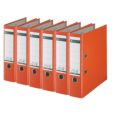 Leitz 2-Ring 3-Inch Premium A4 Sized European Binders 6-Pack, Orange (1010PACK-OR)