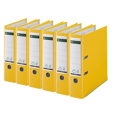 Leitz 2-Ring 3-Inch Premium A4 Sized European Binders 6-Pack, Yellow (1010PACK-YE)
