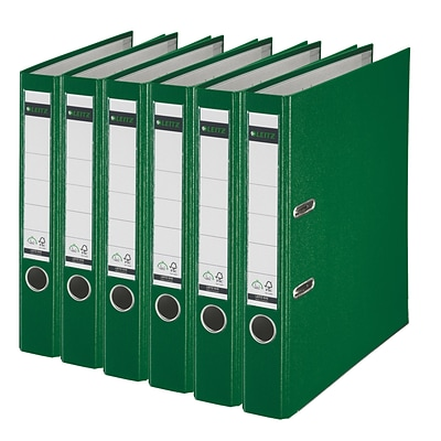 Leitz 2-Ring 2-Inch Premium A4 Sized European Binders 6-Pack, Green (1015PACK-GR)