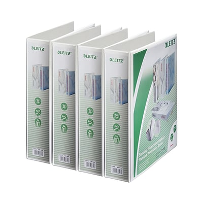 Leitz 4-Ring 3-Inch Premium A4 Sized European View Binders 4-Pack, White (4287PACK)