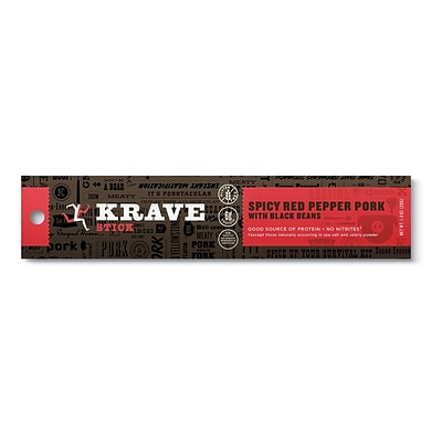 KRAVE Meat Stick, Pork, Spicy Red Pepper Pork with Black Beans, 1 oz, 12 Count