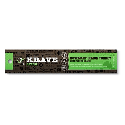 KRAVE Meat Stick, Turkey, Rosemary Lemon Turkey with White beans, 1 oz, 12 Count