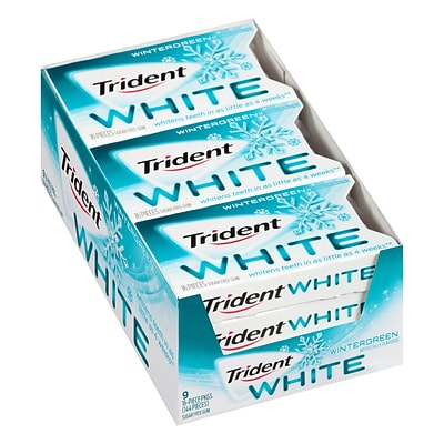 Trident White Wintergreen Sugar-Free Gum, 16 Pieces, 9 Count (131612)