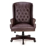 Astoria Grand Ghonge Traditional Executive Wingback Office Desk Chair; Brown