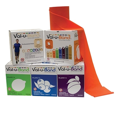 Val-U-Band, Latex-Free, 50 Yard, 5 Pc Set (1 Ea: Peach through Plum)