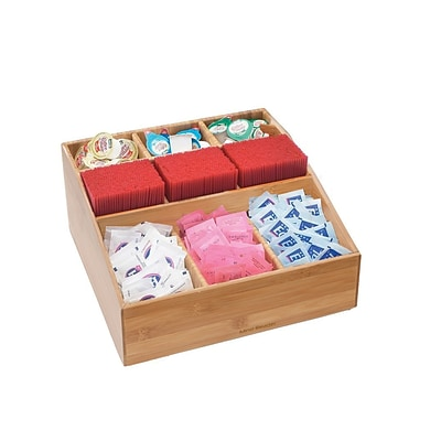 Mind Reader Square 9 Compartment Condiment Organizer, Bamboo wood (COMP9BMB-BRN)