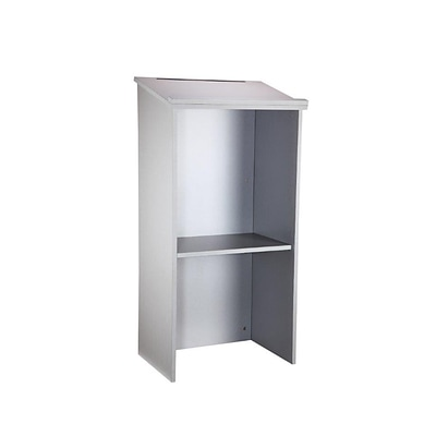 AdirOffice Grey Stand up Floor-standing Podium Lectern with Adjustable Shelf and Pen/Pencil Tray