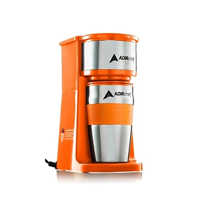 Adirchef Grab N Go Orange Personal Coffee Maker With 15 Oz. Travel Mug (800-01-ORG)
