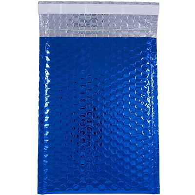 JAM Paper® Bubble Mailers with Peel and Seal Closure, 6 3/8 x 9 1/2, Blue Metallic, 12/pack (2745204)