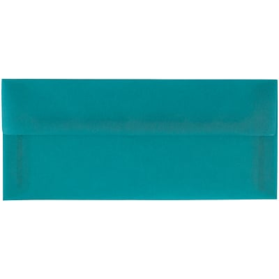 JAM Paper® #10 Business Envelopes, 4 1/8 x 9 1/2, Aqua Blue Translucent Vellum, 50/pack (PACV364I)