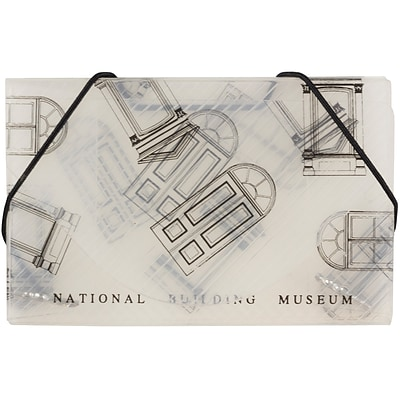 JAM Paper® Plastic Business Card Case, National Building Museum Design Clear/Black, 1/Pack (366662B)