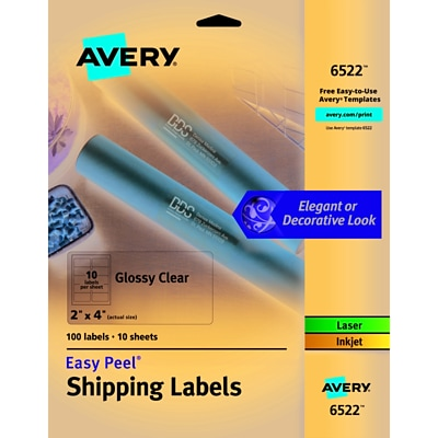 Avery Glossy Clear Easy Peel Shipping Labels, 2 x 4, Pack of 100 (6522)