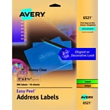 Avery Glossy Clear Easy Peel Address Labels, 1 x 2-5/8, Pack of 300 (06521)
