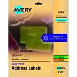 Avery Glossy Clear Easy Peel Address Labels, 2/3 x 1-3/4, Pack of 600 (6520)
