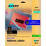 Avery Glossy White Easy Peel Address Labels, 1 x 2-5/8, Pack of 750 (6526)