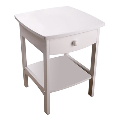 Winsome 22 x 18 x 18 Wood Curved End Table/Night Stand With One Drawer, White