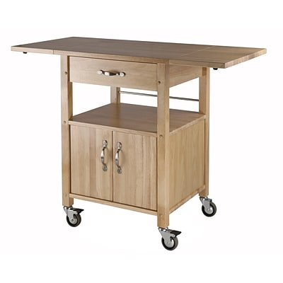 Winsome Wood Double Drop Leaf Kitchen Cart With 1 Drawer Cabinet And Shelf