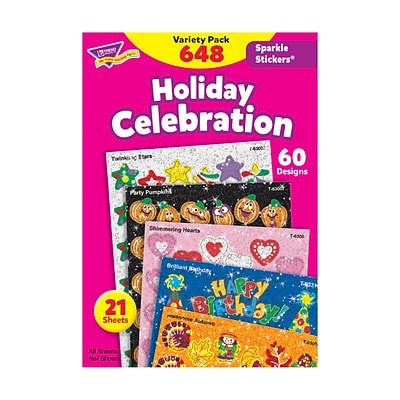 Trend® Sparkle Stickers®, Holiday Celebration Variety Pack, 648/Pack