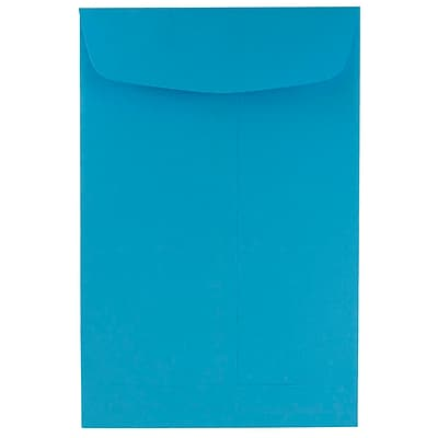 JAM Paper® 6 x 9 Open End Catalog Envelopes, Brite Hue Blue Recycled, 100/pack (88087)