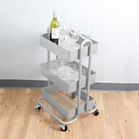 Mind Reader Whirl  Heavy Duty 3 Tier Metal Utility Cart, Silver (METCART3T-SIL)