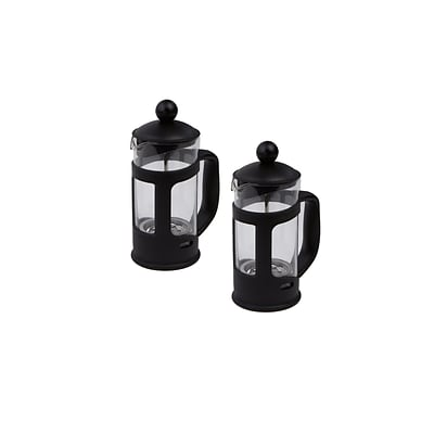 Mind Reader Single Serve Glass French Press 2 Pack, Black (FP002-BLK)