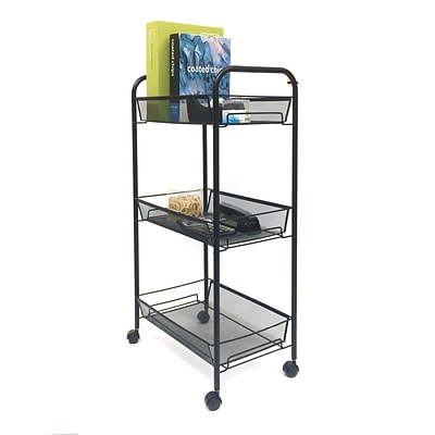 Mind Reader Roll Rolling Metal Mesh 3 Shelf Cart, Black (3TOCART-BLK)