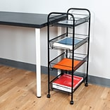 Mind Reader Roll Rolling Metal Mesh 4 Shelf Cart, Black (4TOCART-BLK)