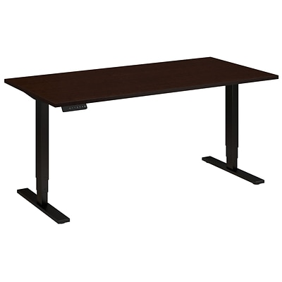 Bush Business 60W x 30D Height Adjustable Standing Desk, Mocha Cherry with Black Base, Installed