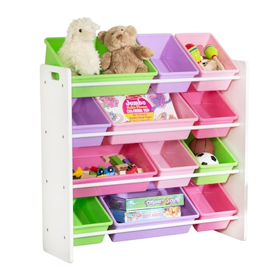 Honey Can Do Kids Toy Room Storage Organizer With Totes, White/pastel (srt 01603)