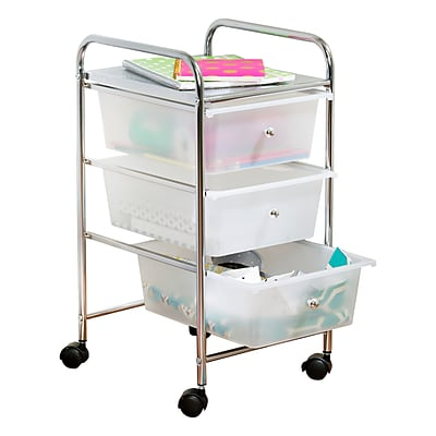 Honey Can Do 3 Drawer Plastic Storage Cart On Wheels (CRT