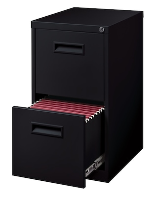 "2-Drawer File Cabinet with Concealed Wheels, Black, 19"" Deep (19531)"