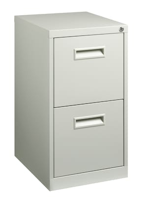 "2-Drawer File Cabinet with Concealed Wheels, Gray, 19"" Deep (19532)"