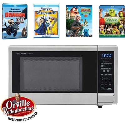 Movie Night with Orville RedenbacherS Certified 1.1 Cu. Ft. Microwave and 4-Movie Set